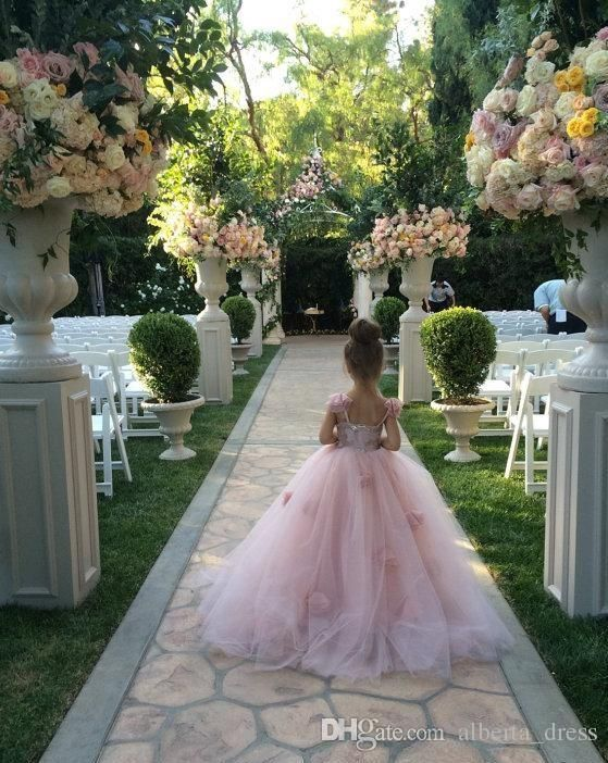 Blush Pink Flower Girls Dresses Appliques Spaghetti Straps Ball Gown Ruffles Tulle Pageant Dresses For Girls Long Girl Dresses For Wedding Flower Girl Tutu Dresses Girls Red Shoes From Alberta_dress, $64.47| DHgate.Com