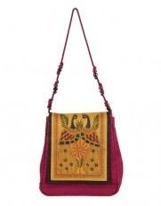 Madhubani embroidered silk sling