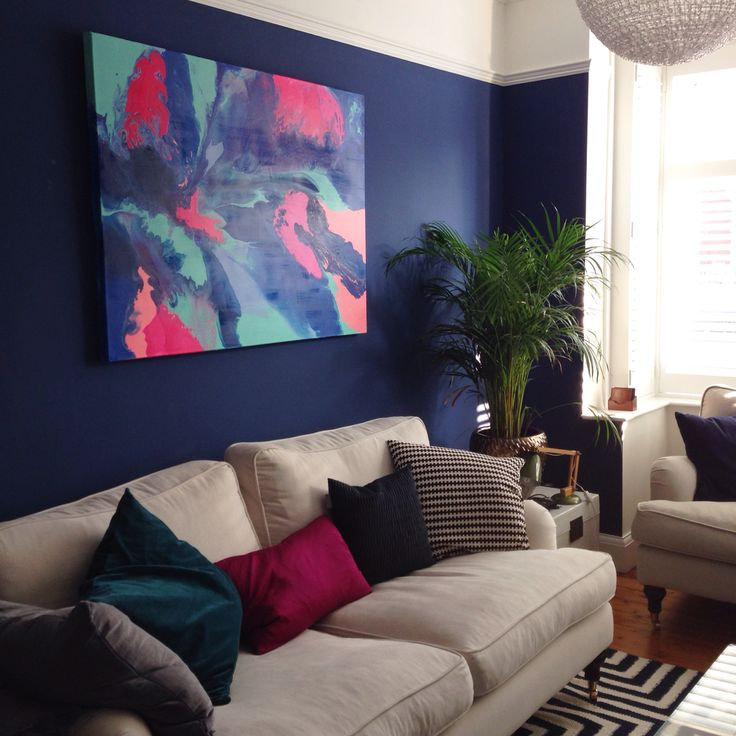 Art by Nicky K Art now hung in my sitting room - I love the brights, really lifts the room and looks gorgeous against the Farrow and Ball Drawing Room Blue walls.