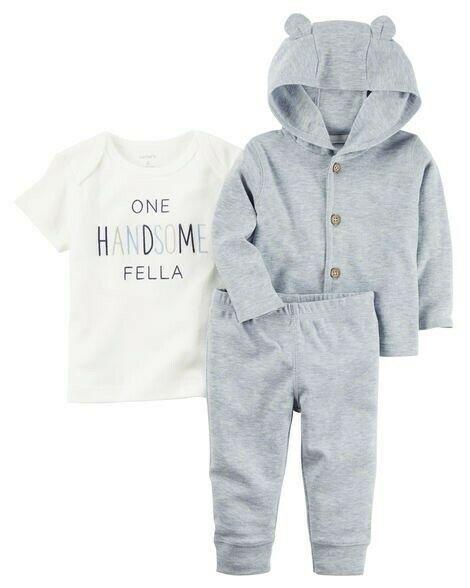 33ed65f64 NWT Carters Baby Boy Clothes Preemie 3 Piece Blue Jacket Shirt Pants Outfit  Set #fashion
