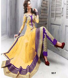 Buy Yellow resham embroidery net semi stitched salwar with dupatta party-wear-salwar-kameez online