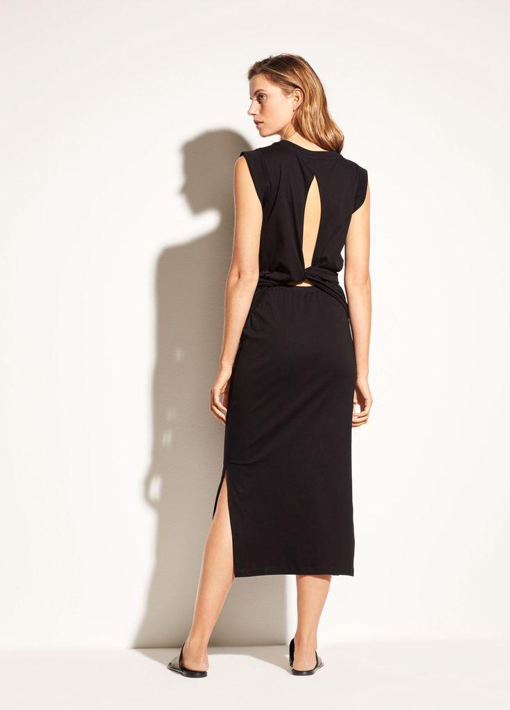Vince Wrap Waist Cotton Dress Black Xs Products