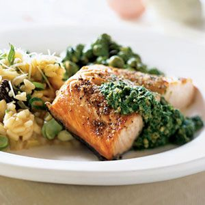 Salmon with Fresh Sorrel Sauce | MyRecipes.com #myplate #protein