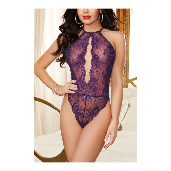 Yoins Sexy Bodycon Halter Lace One-Piece Lingeries in Purple ($21) ❤ liked on Polyvore featuring intimates, sexy halter tops, purple lace lingerie, sexy lingerie, lace halter top and purple halter top