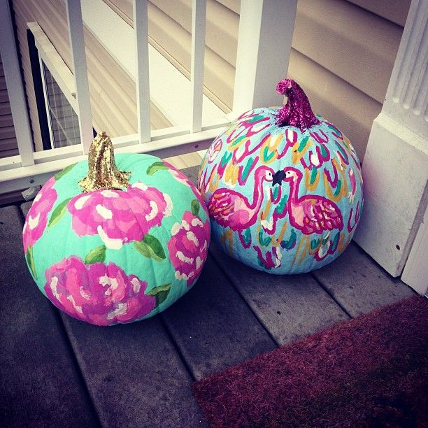 OMG Lilly Pulitzer pumpkins, I'm totally doing this: