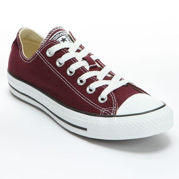 Converse All Star Sneakers for Unisex ($45) ❤ liked on Polyvore featuring shoes, sneakers, converse, flats, zapatos, converse trainers, converse flats, burgundy shoes, burgundy flats and lace up flats