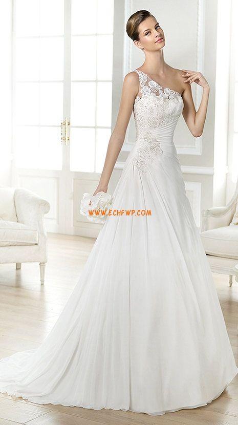 A-line Mousseline polyester Naturel Robes de mariée 2014