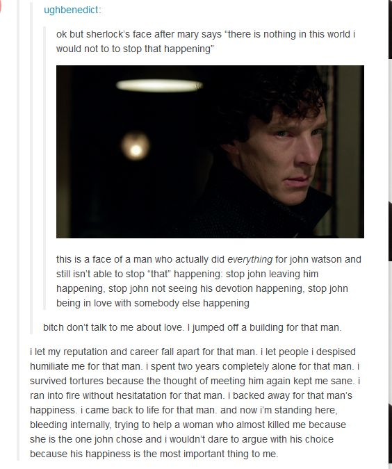 Sherlock's devotion to John is unparalleled by any other. There's truly no contest.
