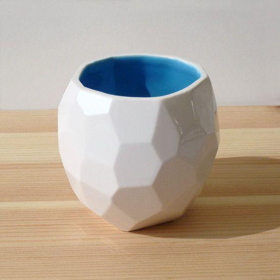 Modern ceramic cup  handmade in polygons  Poligon by studioLORIER