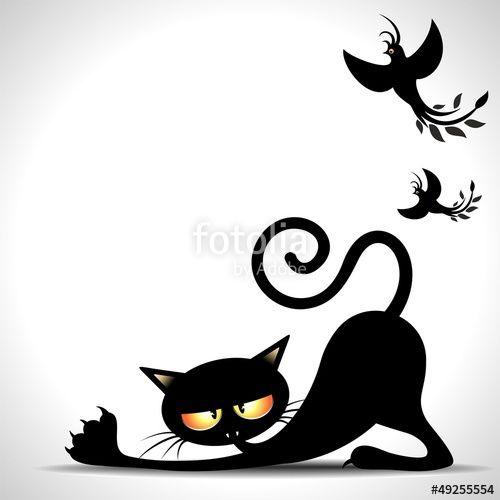 """Scarica il vettoriale Royalty Free  """"Gatto Nero Cartoon si Stira-Black Cat Stretching and Birds"""" creato da BluedarkArt al miglior prezzo su Fotolia . Sfoglia la nostra banca di immagini online per trovare il vettoriale perfetto per i tuoi progetti di marketing a prezzi imbattibili!"""