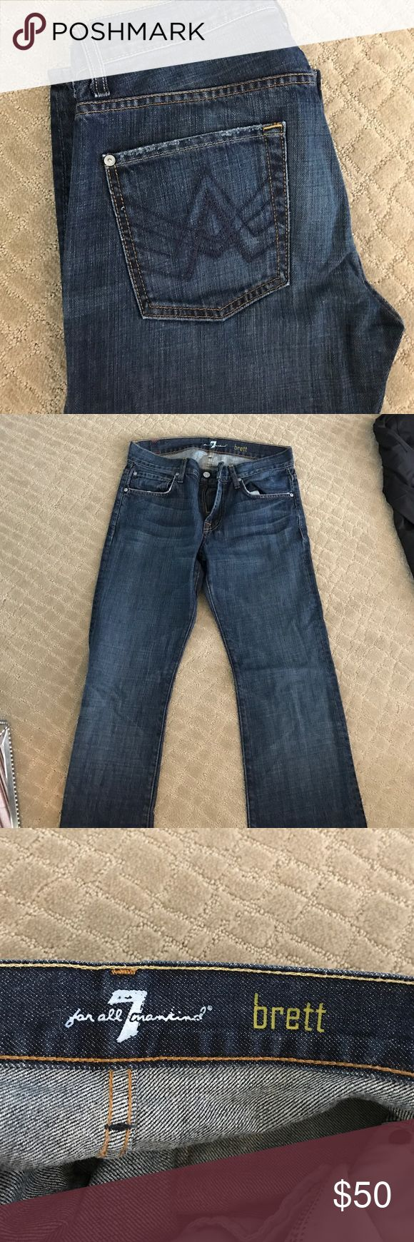 7 for all mankind men's bootcut jeans 7 for all mankind, style Brett, size 30 waist.  Bootcut fit, A pockets.  In excellent condition 7 For All Mankind Jeans Bootcut