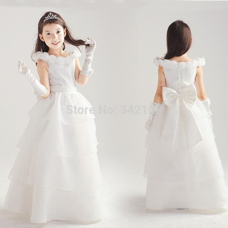 Cheap Flower Girl Dresses For Toddlers White Child One Piece Floor Length Baby Girls Fashion Dress Princess Party Wedding F
