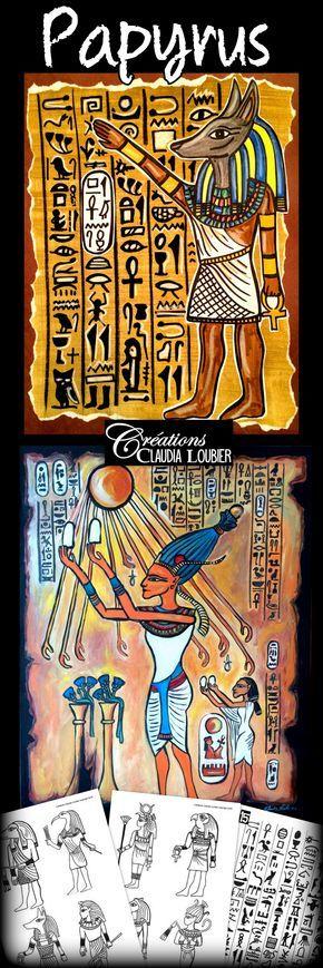 Faites découvrir l'art égyptien à vos élèves en créant un magnifique papyrus ! Pour 2e à 6e année. Aussi intéressant au secondaire. Matériel simple:   Gouache en pain pour la première étape, crayons de bois blanc et noir, crayons de feutre de couleurs, carton blanc et brun (ou noir), colle et ciseaux  Ce document contient: - La démarche: 4 pages - Les photos explicatives: 11 pages - Une oeuvre égyptienne - La grille d'évaluation