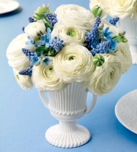 I love the clean simple color combo here! And the vintage milk glass vase finishes it off beautifully. Flowers we love. Wedding centerpiece.