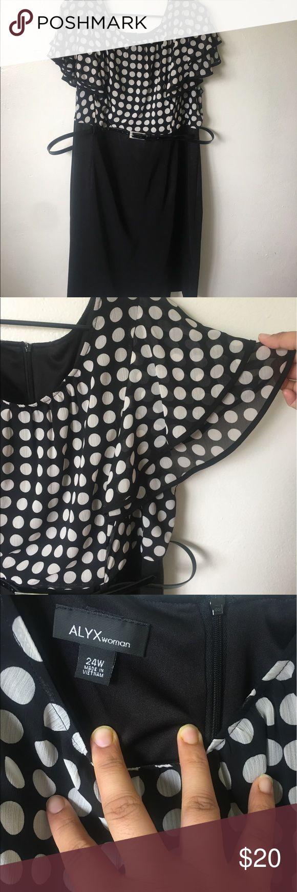 Work dress Cute work dress, polka dot chiffon top, spandex skirt Dresses Midi