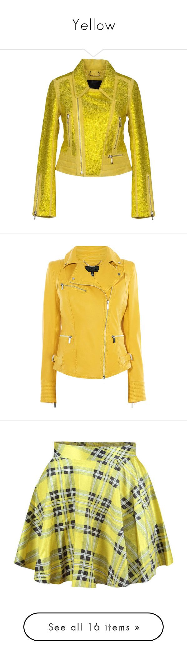 """Yellow"" by random1thing ❤ liked on Polyvore featuring outerwear, jackets, yellow, philipp plein jacket, philipp plein, biker jackets, zip jacket, animal jackets, moto jacket and zip pocket jacket"