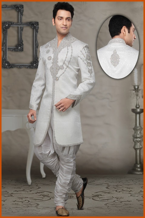 White Silk Jacquard Readymade Indo western Suit Online Shopping: MKB255