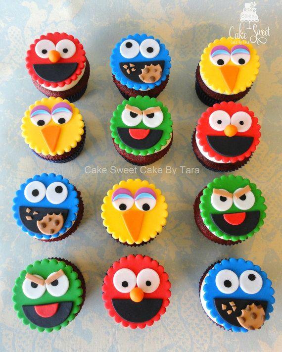 Toppers de cupcake calle sésamo por Taleenshop en Etsy