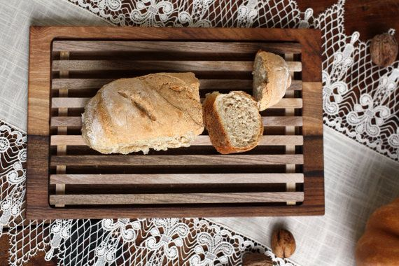 Bread cutting board bread crumb catcher bread by JaraKacaHandmade