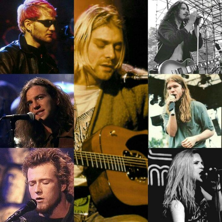 From left to right.... Top: Layne Staley, Kurt Cobain, Chris Cornell.  Middle: Eddie Vedder, and Shannon Hoon. Bottom:Andrew Wood and Scott Stapp.