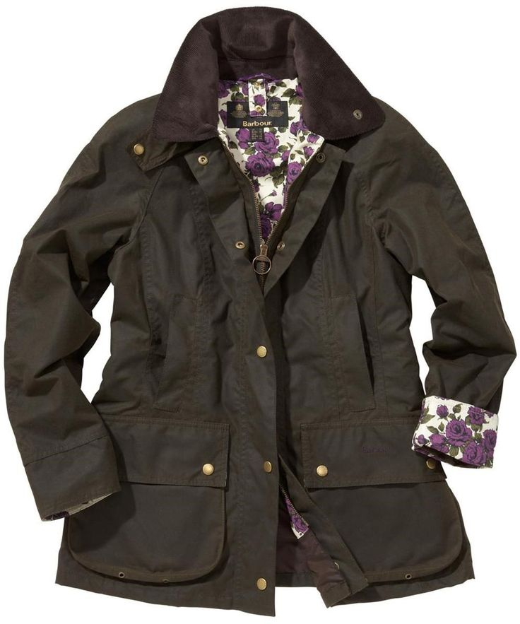 Womens Barbour Liberty Beadnell Waxed Jacket - Olive | Purple Rose