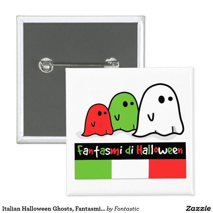 Italian Halloween Ghosts, Fantasmi di Halloween 2-inch Square Button