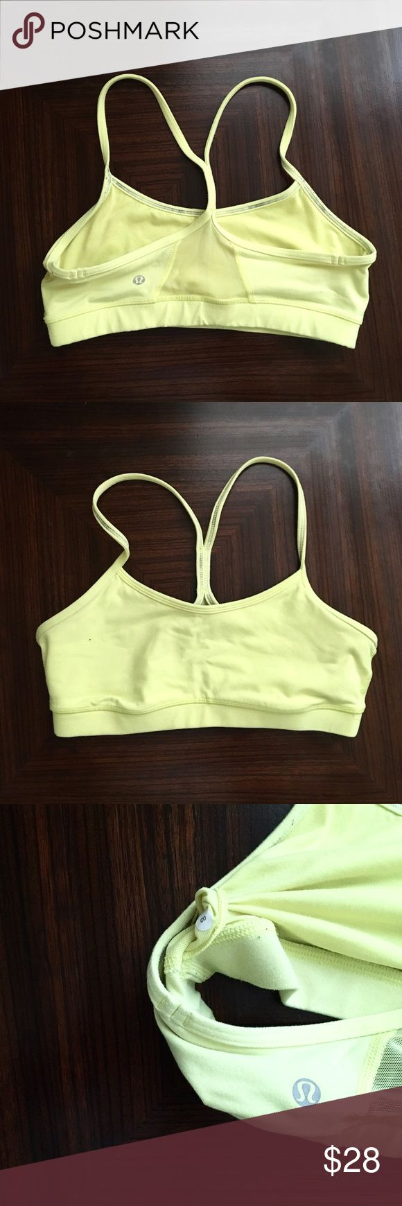 Lululemon Flow Y Bra Flow Y Bra from Lululemon in yellow, size 8. Sweat-wicking racerback bra is ideal for yoga or running! Provides light support - best suited for B/C cup. Good used condition, minor pilling, no stains or holes. Bra pads not included, but you can pick them up for free at any lululemon location lululemon athletica Tops