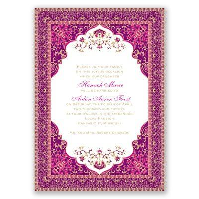 Persian Begonia Wedding Invitation - elegant India Mehndi Farsi ethnic at Invitations By David's Bridal