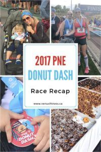 """This past Sunday I ran the most delicious run of my life, the PNE Donut Dash. This family friendly 5K fun run is hosted by Try Events, and is a no brainer if you like running/ walking , having fun and mini donuts.  This run was also perfect to try with the jogging stroller.  Read on for my """"sweet"""" race recap."""