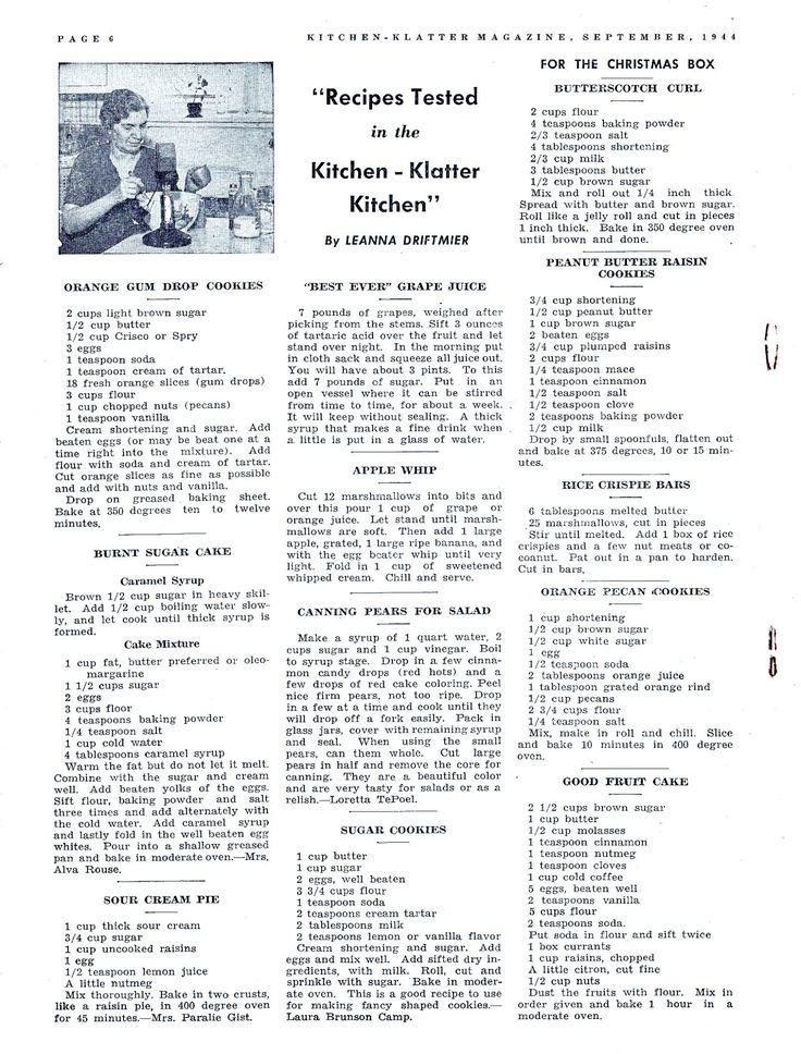 Kitchen Klatter Magazine, September 1944 - Orange Gum Drop Cookies, Burnt Sugar Cake, Sour Cream Pie, Grape Juice, Apple Whip, Canning Pears, Sugar Cookies, Butterscotch Curl, Peanut Butter Raisen Cookies, Rice Crispie Bars, Orange Pecan Cookies, Fruit Cake