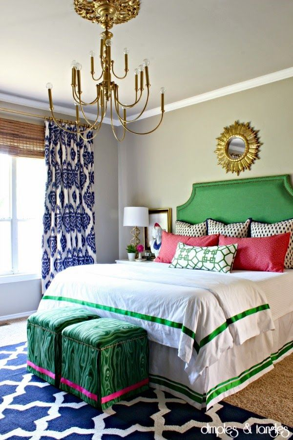 Master Bedroom Makeover  ||  Navy, Green, Hot Pink Orange  ||  Mixed Patterns  ||  Upholstered Headboard  || Malachite fabric  ||   Duralee Kalah drapery  ||  Rugs USA Trellis Rug  ||  Chandelier Makoever  ||  Xu Garden Pillow