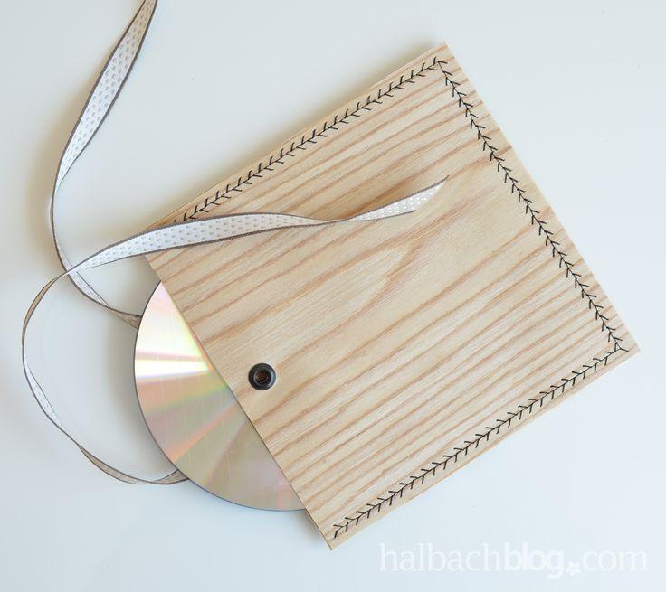 Halbachblog I DIY Idee: CD-Hülle aus Holzfurnier-Stoff selber nähen I sewing I Holzfurnier I wood veneer fabric I natural look I leichtes Nähprojekt I Geschenkidee I Geschenk verpacken I gift wrapping
