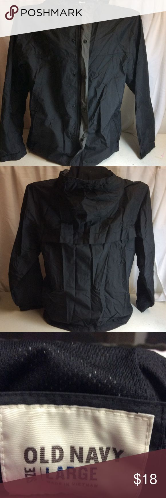 Men's Black Windbreaker Hooded Jacket ☔️ Old Navy Men's Black Windbreaker Jacket with hood! Size Medium. 🌦🌧🌨 Gently Worn. Great condition! Perfect for rainy or snowy weather! 🌧🌧 Old Navy Jackets & Coats Windbreakers