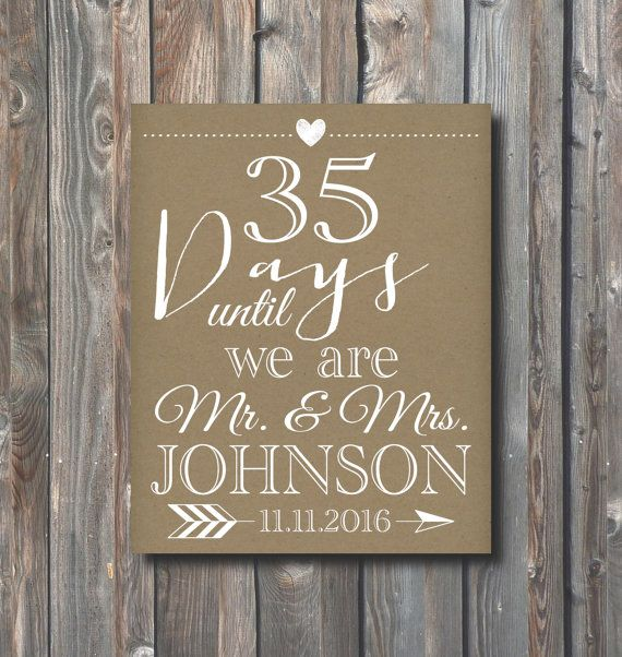 Printable Wedding Countdown Sign-Days Until We Are Mr And Mrs-Days Until Wedding-Bridal Shower-Personalized Wedding Countdown Sign-WD3