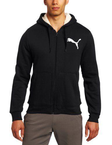 PUMA Men's Hooded Sherpa Hoodie, Black, Large: Full zip hoodie with  drawstrings