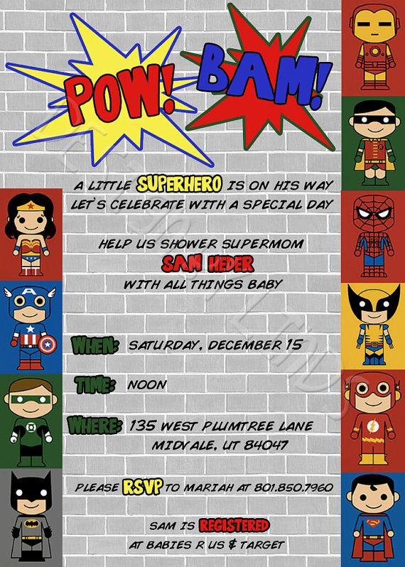 "Superhero Baby Shower Package includes:  invitation, due date calendar game, baby advice cards, parents-to-be advice cards, thank you cards, food tent cards, ""BAM"" ""POW"" & ""ZAP"" signs"