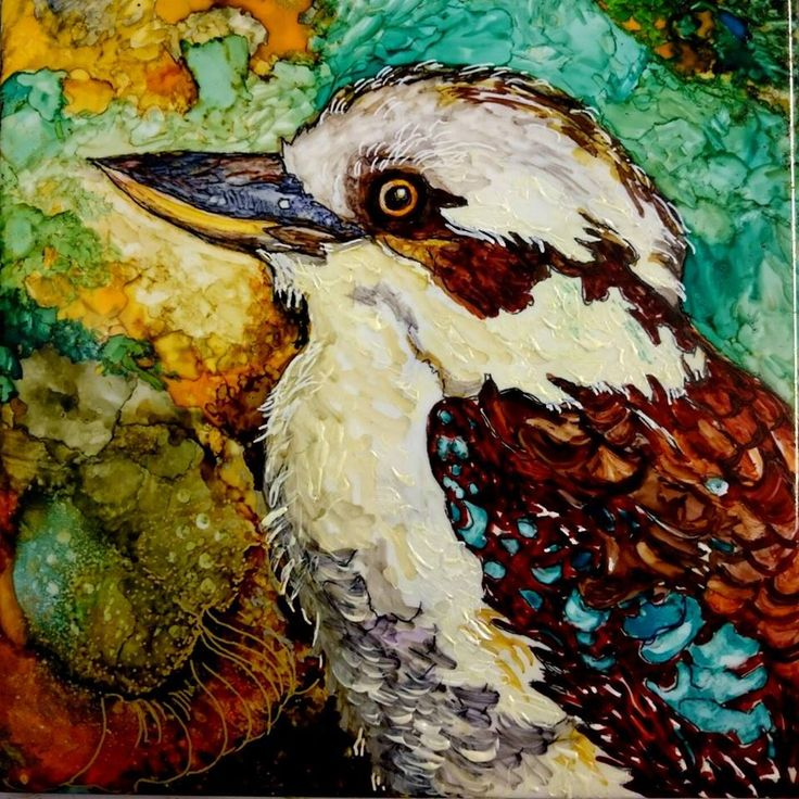 """Mr. Kookaburra"" Alcohol Ink on 10"" tile"