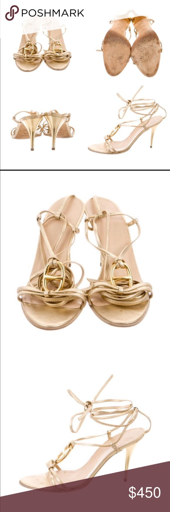 Hermes lace up sandals Metallic gold-tone leather Hermès sandals with covered heels, Chaîne d'Ancre ring adornment at tops and lace-up closures. Hermes Shoes Sandals