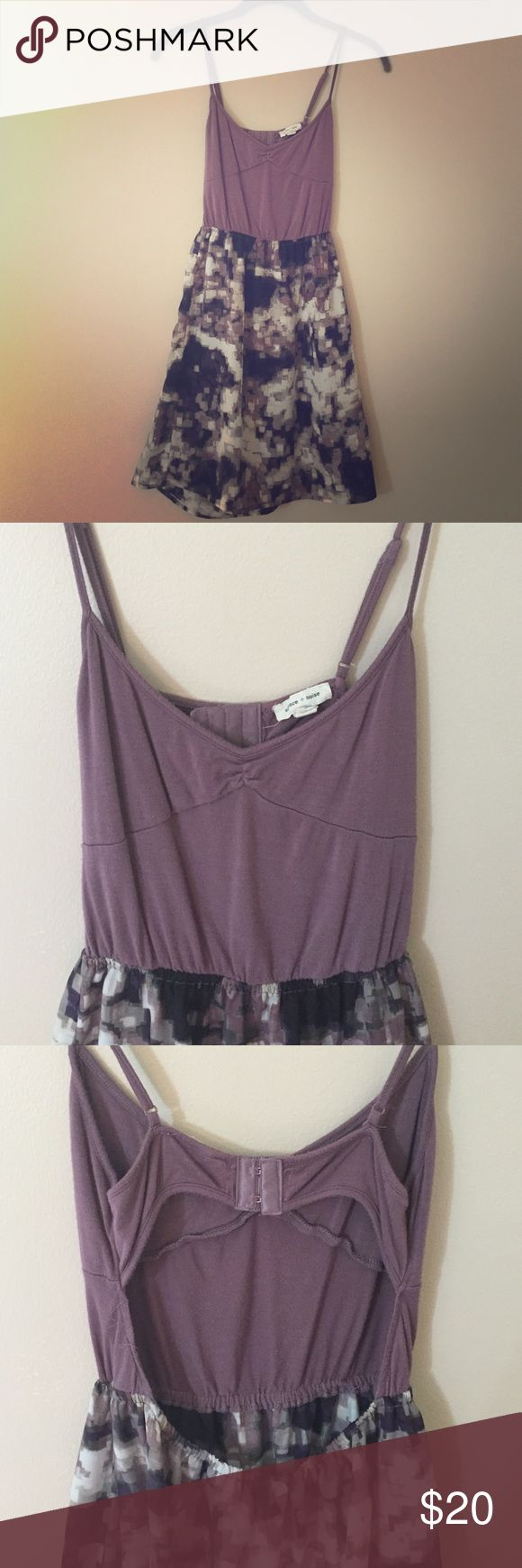 Backless Dress Purple and pattern short dress with open back - silence + noise from UO - super cute and great condition! Urban Outfitters Dresses Backless