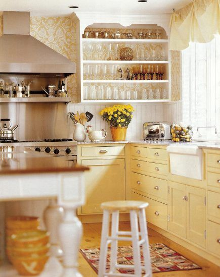 yellow kitchens | yellow and white kitchen with yellow brocade-pattern wallpaper on an ...