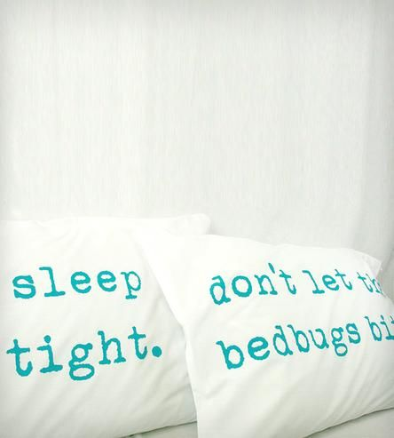 """""""Sleep Tight, Don't Let the Bedbugs Bite"""" Pillowcases - Turquoise by Urban Bird & Co. on Scoutmob Shoppe"""
