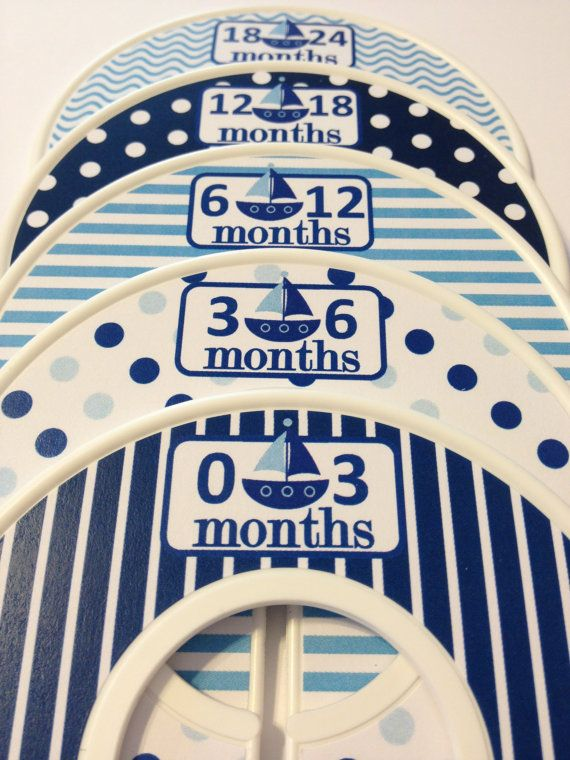 5 Custom Baby Closet Dividers - Navy Aqua Nautical Sailboats - Baby Boy Shower Gift Nursery - Custom Nautical Baby Closet Organizers on Etsy, $15.00