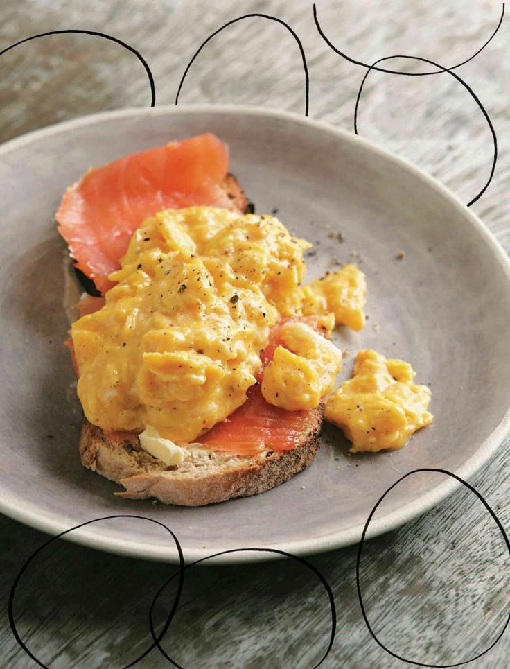 Smoked salmon and scrambled eggs on toast from Hugh Fearnley-Whittingstall's River Cottage Every Day. Find it on Cooked.com