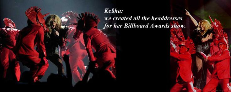 Red unicorn masks for Kei$ha at the Billboard Awards, custom-made by Tentacle Studio.