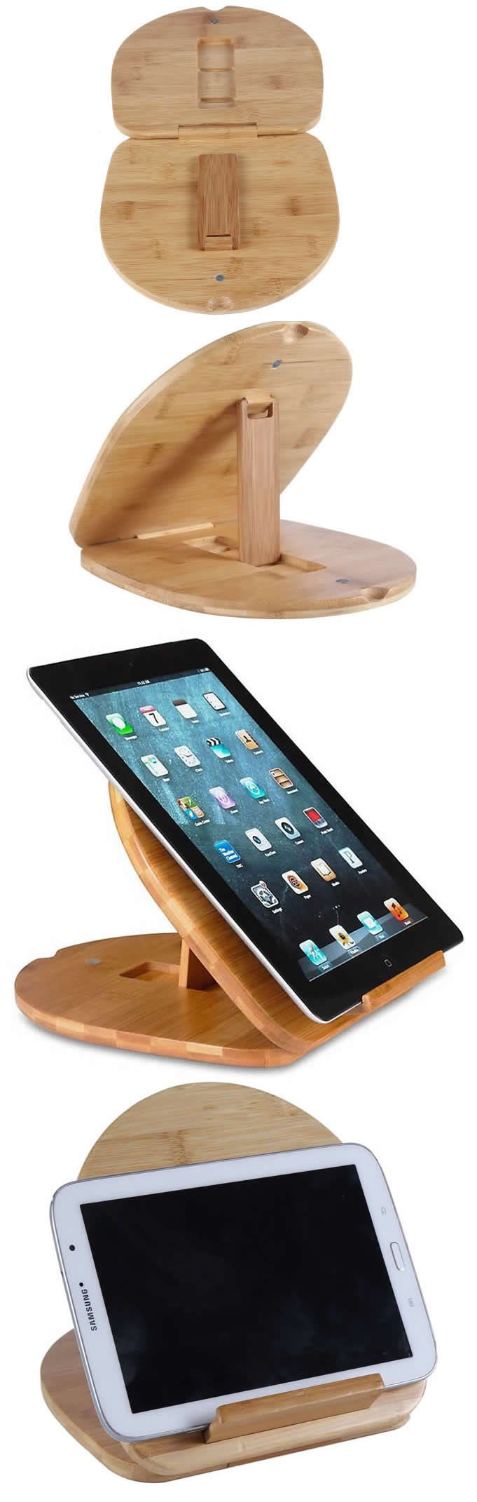 Bamboo Adjustable Tablet Stand for Apple iPad and phones