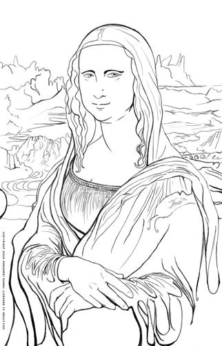 Mona Lisa Coloring Page -- Leonardo da Vinci's Mona Lisa -- By Shelley Esaak  -  Artist: Leonardo da Vinci - (Italian, 1452-1519). -- Title: Mona Lisa (La Gioconda) -- Created: Around 1503-05 -- Where to see original work -- Musée du Louvre, Paris -- Coloring page © 2008 Margaret Esaak -- Licensed to About.com Art History