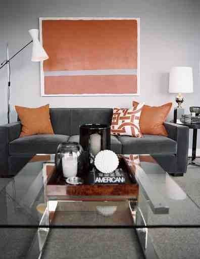 Charcoal Sofa, orange accents! #home #decor