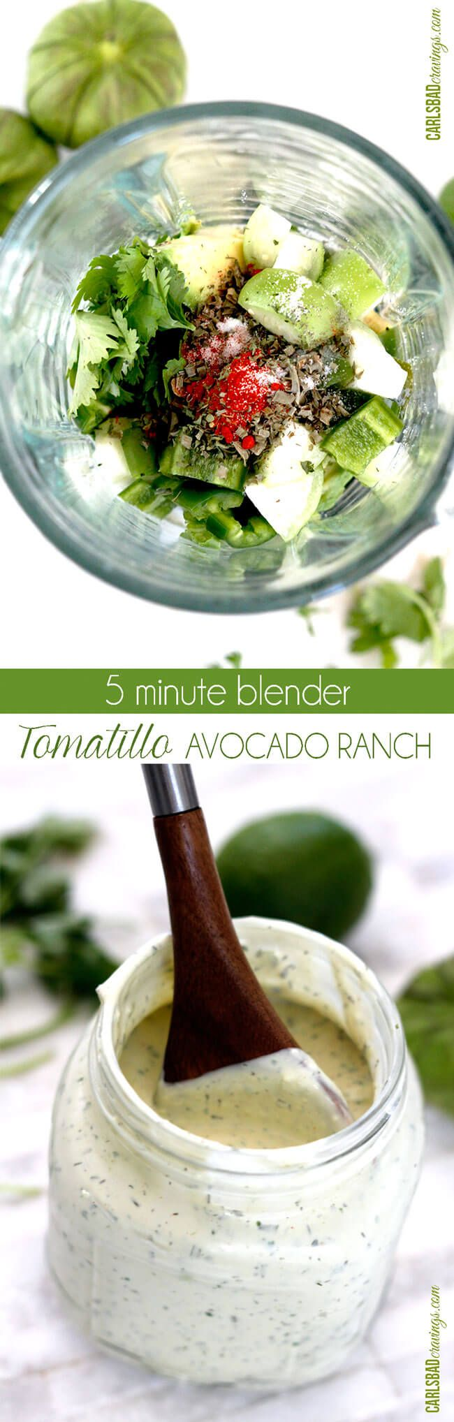 I put this on EVERYTHING! Tastes like its from a restaurant but so easy. Its like creamy ranch with a Mexican flair added by the avocado, tomatillo, jalapeno, garlic, cilantro, lime and smoked paprika via @carlsbadcraving
