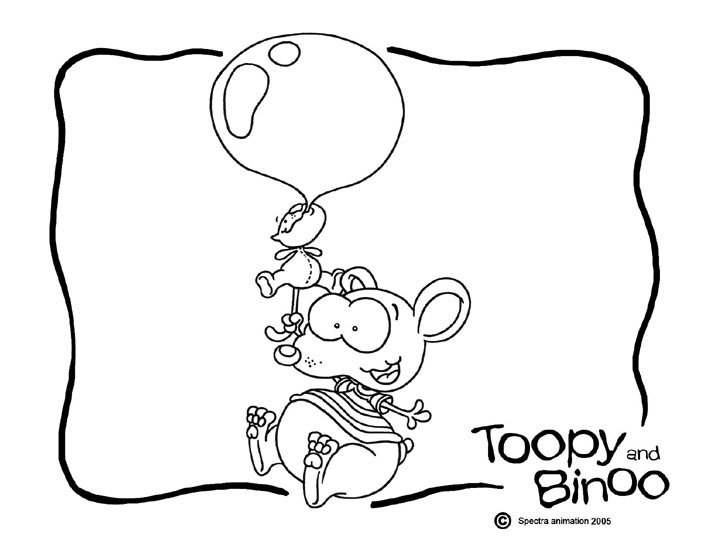 toopy & binoo  balloons instead of bubble, could do big balloon & write on it
