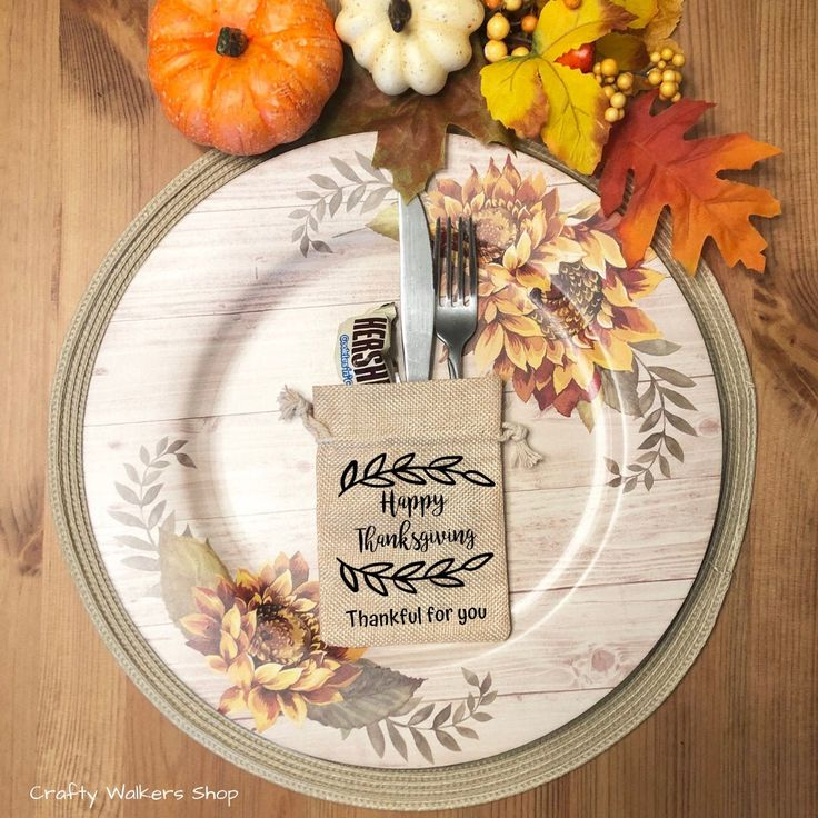 Thanksgiving Dinner Table Decor, Thank you Gift for guests, Thanksgiving Favor bag, Thanksgiving Party